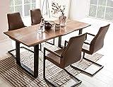 SalesFever Essgruppe Baumkanten-Tisch aus Akazie und Armlehnstühle Giada Tisch 160x85 cm + 4 hellbraune Stühle, Nussbaum/Schwarz