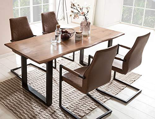 SalesFever Essgruppe Baumkanten-Tisch aus Akazie und Armlehnstühle Giada Tisch 180x90 cm + 6 hellbraune Stühle, Nussbaum/Schwarz