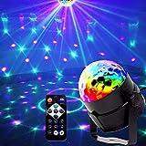 Mini luci da palco, EJBOTH Mini lampada effetto disco palla magica RGB LED fase cristallo faro rotante luce sfera +Telecomando Luce Atmosfera per Discoteca KTV Bar Club Natale DJ AC 220V Magic Ball