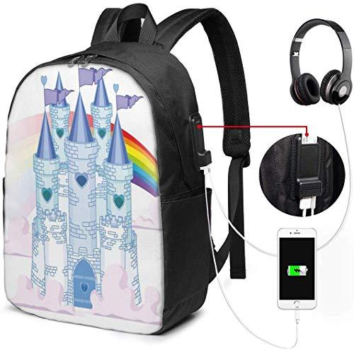 Zaini per la scuola con porta di ricarica USB e jack per cuffie, il castello principe delle fiabe nel cielo con Rainbow Love vince il romanzo surreale queer, 17 pollici