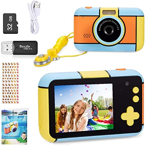 YunLone Appareil Photo pour Enfants, Appareil Photo numérique 28MP Selfie Appareil Photo vidéo HD 1080P pour Enfant avec Carte TF de qualité 32 Go,Écran de 2.4 Pouces (Dark_Blue)