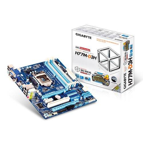 Gigabyte GA-H77M-D3H Sockel 1155 Mainboard (Micro-ATX, 4X DDR3 Speicher, HDMI, DVI-D, 2X SATA III, 4X USB 3.0)
