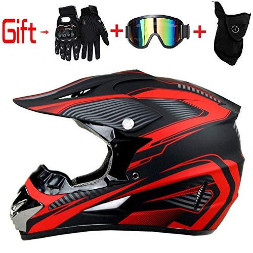 Motorbikehelmet Mask Gloves Goggles Mountain Bike Helmet Protective Gear Dirt Bike Helmet Kids Quad Bike Helmet SHANREN Motocross Helmet Full Face Helmet Off Road Crash Helmet with Visor
