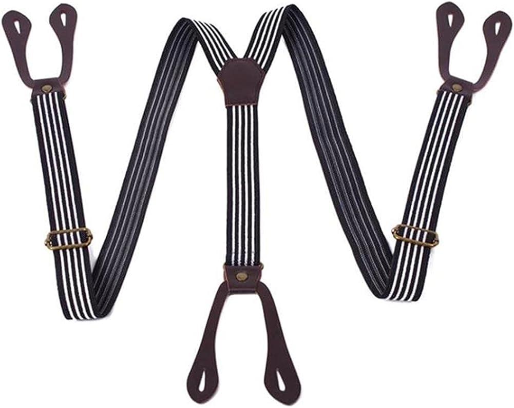 Button Suspenders Men Braces Striped Coffee Y Back Adjustable Male Female Trousers Strap