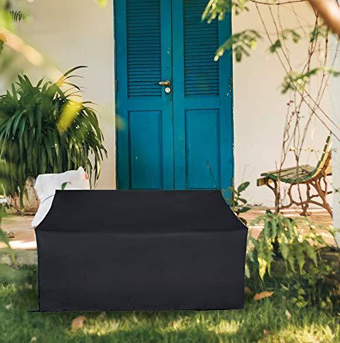 Ydq Housse Banc De Jardin 2/3/4 Places Imperméable Coupe-Vent Anti-UV 210D Oxford Tissu Housse De Meuble Extérieur Couverture De Patio avec Cordon De Serrage,4 Seats 190x66x89cm