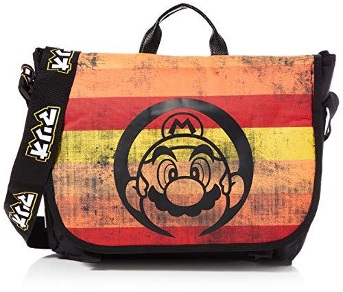Nintendo Super Mario Bros. Distressed Retro Striped Messenger Bag, Unisex-Erwachsene, Mehrfarbig (Multicolour)