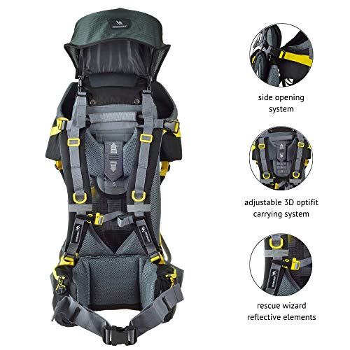 DROMADER Baby Toddler Hiking Backpack Carrier Quokka   Child's Weight up to 48,5lbs   Comfortable for Parents   Practical Pockets   Adjustable Seat   with Sunroof & Rain Cover   Black-Yellow