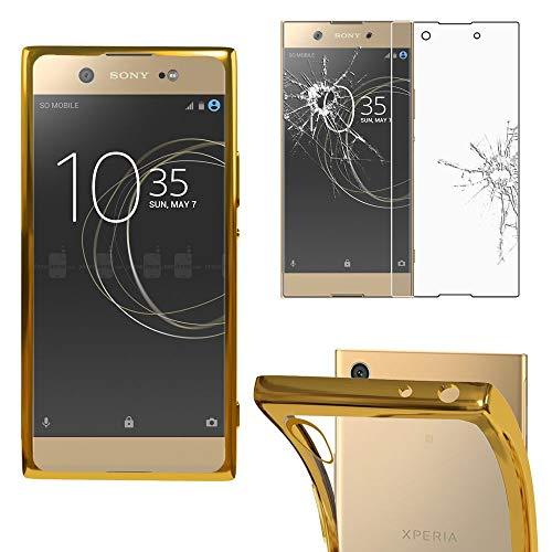 ebestStar - kompatibel mit Sony Xperia XA1 Ultra Hülle XA1 Ultra/Dual (2017) Handyhülle [Ultra Dünn], Klar Flex Silikon Schutzhülle, Transparent/Gold +Panzerglas Schutzfolie [Phone:165x79x8.1mm 6.0