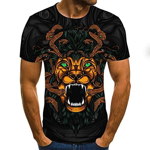 SSBZYES Camiseta para Hombre Camiseta de Manga Corta para Camiseta de Talla Grande para Hombre Camiseta de Manga Corta Patrón de Tigre de Moda Impresión Digital 3D Camiseta de Manga Corta para