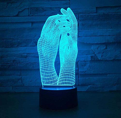 Love Two Hands Luces 3D Luces LED Luces de estado de ánimo USB Luz de noche para dormir para niños Control remoto táctil de 7 colores Dispositivo emisor de luz Cumpleaños de Navidad Regalo creativo