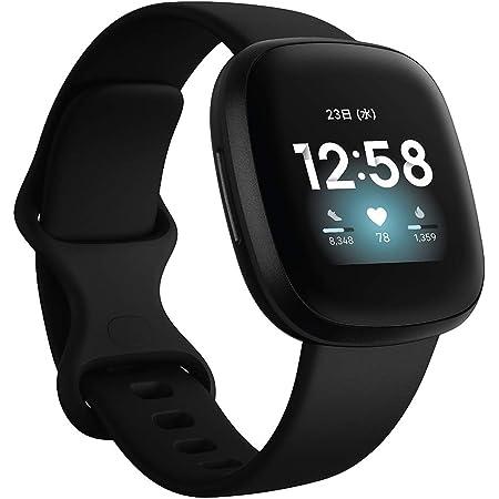 Fitbit Versa3 Alexa搭載/GPS搭載 スマートウォッチ Black ブラック L/S サイズ [日本正規品]