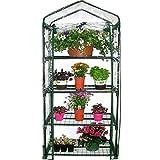 Delleu Mini Invernadero de 4 Niveles de Planta portátil más Grande Invernadero con Ruedas, para el Cultivo de Semillas, plántulas, tendido de Plantas en macetas, jardín