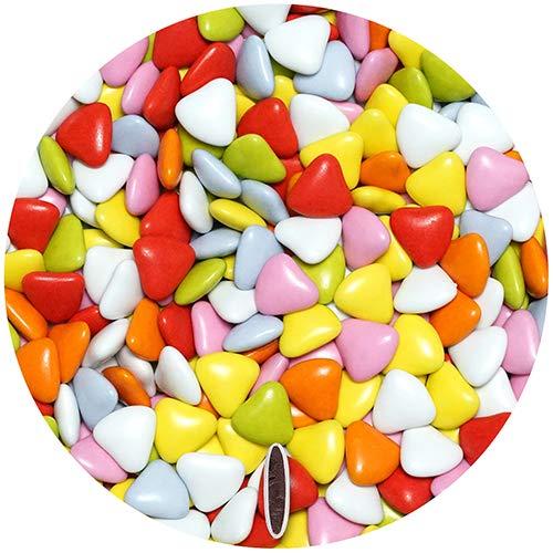 EinsSein 0,5kg Bruidsuiker Chocolade hartjes Dragées small kleurrijke glans mini chocolade hartjes dragee hart paars doopsuiker bruiloft chocoladehartjes suiker gekleurd suikerlaagje geboorte communie