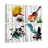 Music Canvas Wall Art Musical Instrument Painting Picture Prints Gift for Music Lover 4 Panels Music Posters Modern Home Decor for Living Room Bedroom Framed Ready to Hang-16'x16'x4Pcs