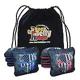 Beer Belly Bags Cornhole - Competitive Series 8 Bags Resin Filled - Double Sided - Sticky Side | Slick Side - Basketweave (Red/Blue Splatter Skulls)