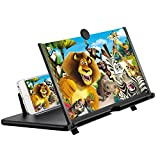 Screen Magnifier for Cell Phone, LXUNYI 16in Phone Screen Magnifier Eye Protection with Foldable Stand Screen Enlarger for Movies, Videos and Gaming Suit for All Smartphones (Black, 16In)