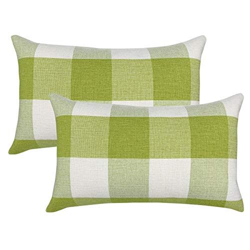 YOUR SMILE Retro Farmhouse Buffalo Tartan Checkers Plaid Cotton Linen Decorative Throw Pillow Case Cushion Cover Pillowcase Lumber for Sofa 12 x 20 Inch,Set of 2,Green/White