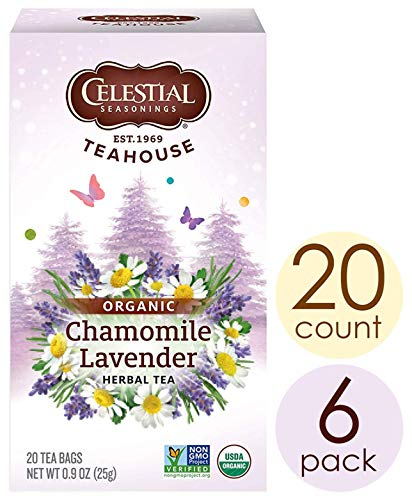 Celestial Seasonings Organic Herbal Tea, Chamomile & Lavender, 20 Count (Pack of 6)