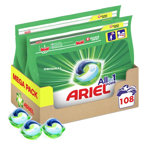 Ariel Allin1 Lessive en Capsules Liquides, 108 Lavages (2 x 54 Pods), Parfum avec une Fraîcheur Longue Durée