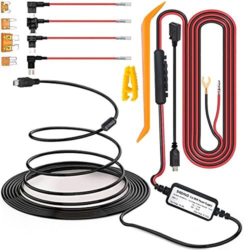 SHISHUO Dashcam Hardwire Kit – mit Mini-USB- und Micro-USB-Port, Batterie-Abflussschutz, 12 V-24 V Eingang, 5 V/2 A Ausgang, 5 Sicherungstyp und Installation von Brechenstangen/Kabel