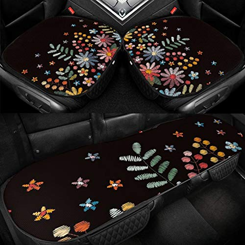 XUKE Floral Embroidered Border Flowers Nature Car Ice Seat Cushion 3 Pieces Ice Silk Car Seat Cover Cushion Breathable and Comfortable Non-Slip