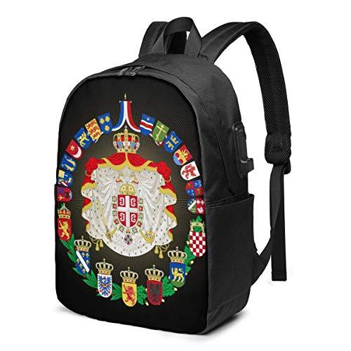 Reise Laptop Rucksack, Wappen Empire Jugoslawien Reise Laptop Rucksack College School Tasche Casual Daypack mit USB-Ladeanschluss