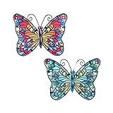 CAPRILO. Set de 2 Apliques Pared Decorativos de Metal Mariposas Azul-Roja. Cuadros y Adornos. Decora...