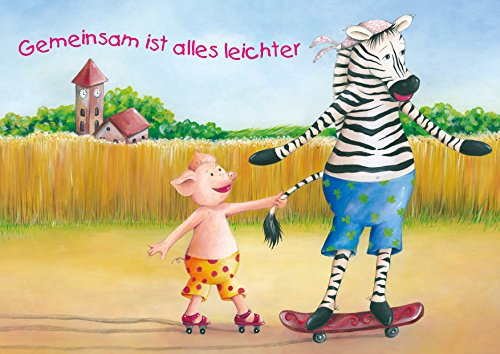 Lustige Kinder Geburtstags Einladungskarte für die beste Freundin/Freund mit einem niedlichen Zebra auf Skateboard und Schweinchen auf Rollschuhen.