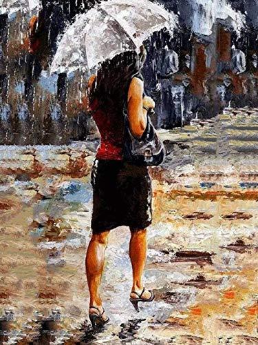 LIXIESHA Pintura por números para Adultos y niños Kits de números DIY Pintura al óleo Mujer con Paraguas Imagen Es Lienzo de Lino con Pincel y Pintura acrílica-with Frame-40x50cm