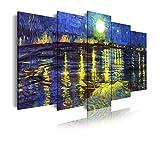 DekoArte 544 - Cuadros Modernos Impresión de Imagen Artística Digitalizada | Lienzo Decorativo Para Salón o Dormitorio | Estilo Arte Van Gogh La Noche Estrellada Sobre El Ródano | 5 Piezas 150x80cm