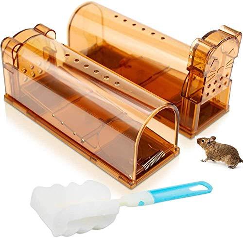 Trampa para ratones (2 piezas) amigable con los animales para ratones vivos para interior exterior jardín de cocina almacenamiento gris, etc.