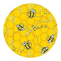 ミツバチイエロープリント Bee 壁掛け時計 木製掛け時計電池式 掛け時計 おしゃれ 円形 静音 ウオールクロック インテリア 部屋装飾