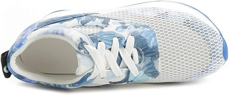 Hoxekle kvinnor Wedges Platform Lace Up skor Air maska Round Round Round Toe Comfortable Casual Mode Andable gående skor  för din spelstil till de billigaste priserna