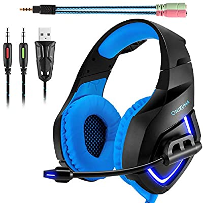 Gaming Headset,ONIKUMA 3.5mm Stereo K1 Ear Headphone with Microphone for xbox one S /PC/PS4/Mobile Phones/Laptop Computer with LED Lighting (Blue)