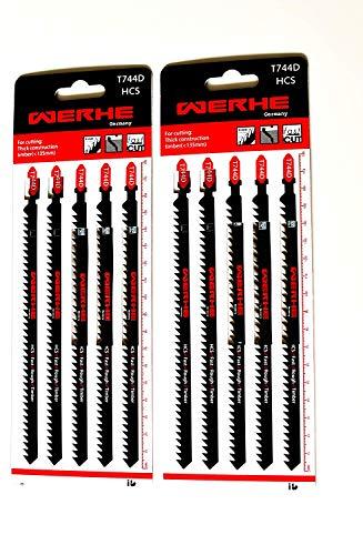 WERHE ® Professional - 10 x trästicksågblad - C 180 mm T744D extra lång - Snabb skärning av tjocka lager - Kompatibel med Bosch, Metabo, Milwaukee, Makita sticksågar