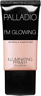 Palladio I'm Glowing Illuminating Primer, 0.67 oz, Pearly Pink Makeup Primer for Face, Contains Aloe Vera, Grape Seed Oil, Green Tea, Brightens Complexion, Combats Wrinkles, Fine Lines & Pores