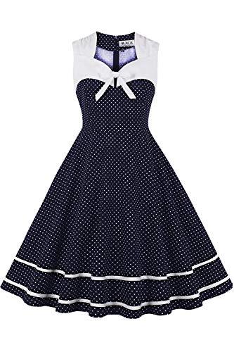 AXOE Damen 50er Jahre Kleid mit Punkten Elegant Hochzeit Cocktailkleid Dunkelblau Weiß Polka Gr.36, S