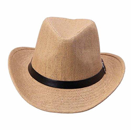 LOPILY Sombrero de Panamá Sombrero de Playa Sombrero para El Sol Verano Sombrero de Paja Protección UV para Hombres con Grosgrain Sencillo Sombrero de Cinta Casual Gorra de montañismo (Light Café)