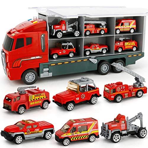 Ultimate Rescue Fire Truck Vehicle Véhicule de pompiers son et lumière , Camion jouet Set Ensemble de pompiers - Noël pour les enfants âgés de 3 à 8 ans, cadeau idéal pour la journée des enfants