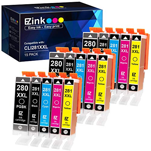 E-Z Ink (TM) Compatible Ink Cartridge Replacement for Canon PGI-280XXL CLI-281XXL to use with PIXMA TR7520 TR8520 TS6120 TS6220 TS6320 TS8120 TS8220 TS9120 TS9520 TS9521C Printer (15 Pack)