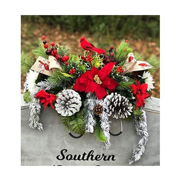 Cardinal Christmas Cemetery Saddle, Winter Grave Pillow, Berries, Pinecone