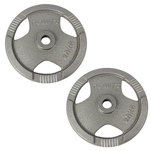 POWRX Discos olímpicos 40 kg Set (2 x 20 kg) - Pesas Ideales para Mancuernas y Barras olímpicas con diámetro 50 mm (Plata)