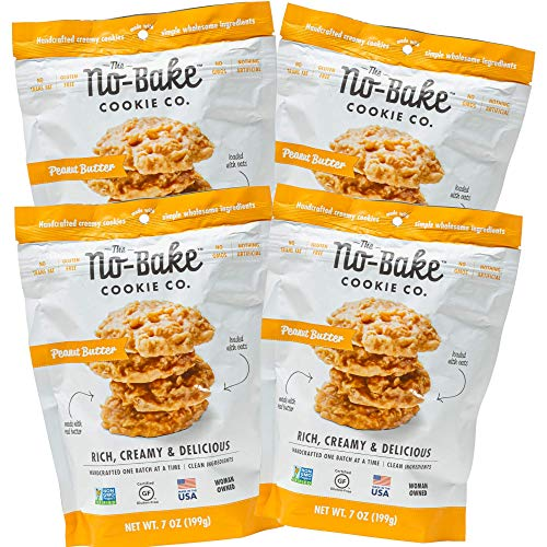 No Bake Cookies - 4 Pack of PEANUT BUTTER Bite Size Cookies   Gluten Free - Non-GMO - No Trans Fat - Nothing Artificial   (4) 7 oz Bags of No-Bake Cookies