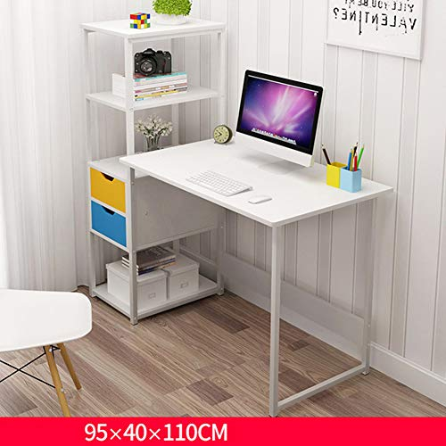 Wmagnifiy Computer Desk Steel Frame Wooden Home Office Table with 4 Tier DIY Storage Shelves - Computer PC Laptop Desk Study Table Workstation for Home Office 95 * 40 * 110Cm,C