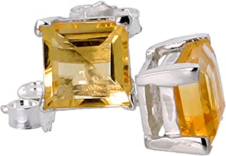 Sterling Silver Genuine Citrine Stud Earrings 4 prong Basket Setting 4-6 mm Princess and Round