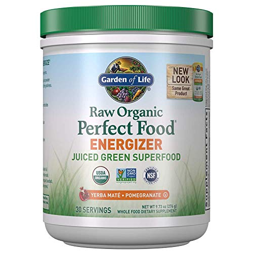 Garden of Life Raw Organic Perfect Food Energizer Juiced Green Superfood Powder - Yerba Mate Pomegranate, 30 Servings, Green Superfood Powder & Probiotics, Gluten Free Whole Food Greens Supplements