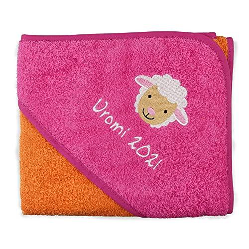 Wolimbo Kapuzenbadetuch - Orange-Pink - 100x100cm - personalisierbar - Badehandtuch - weiches Babyhandtuch - Geschenk zur Taufe, Geburt