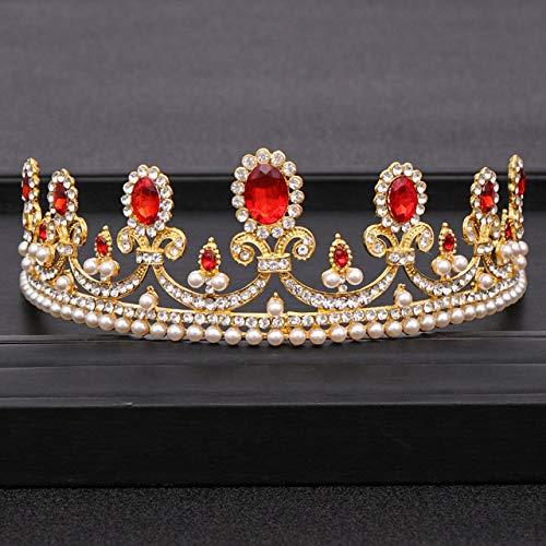 MLDSJQJ Trendy Wedding Crown Crystal Pearl Rhinestone Crown Wedding Hair Accessories Hair Band Bridal Crown Accessories Jewelry,Silver