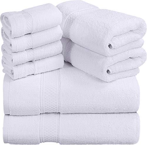 Utopia Towels - 700 GSM Juego de toallas de 8 piezas; 2 toallas de baño, 2 toallas de mano y 4 paños de ducha - Algodón - Lavable a máquina, calidad del hotel (blanco) ⭐