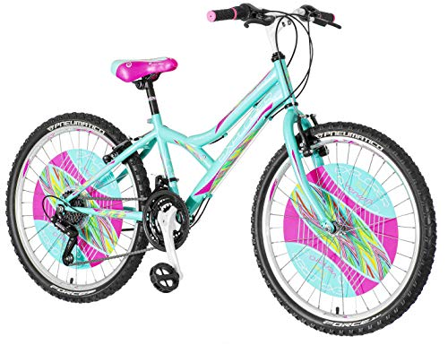 breluxx® 24 Zoll Kinderfahrrad Mountainbike Hardtail Explorer Daisy Sport türkis, 18 Gang - Made in EU